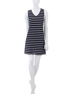 Jockey Black & White Pique Striped Knit Chemise – Misses