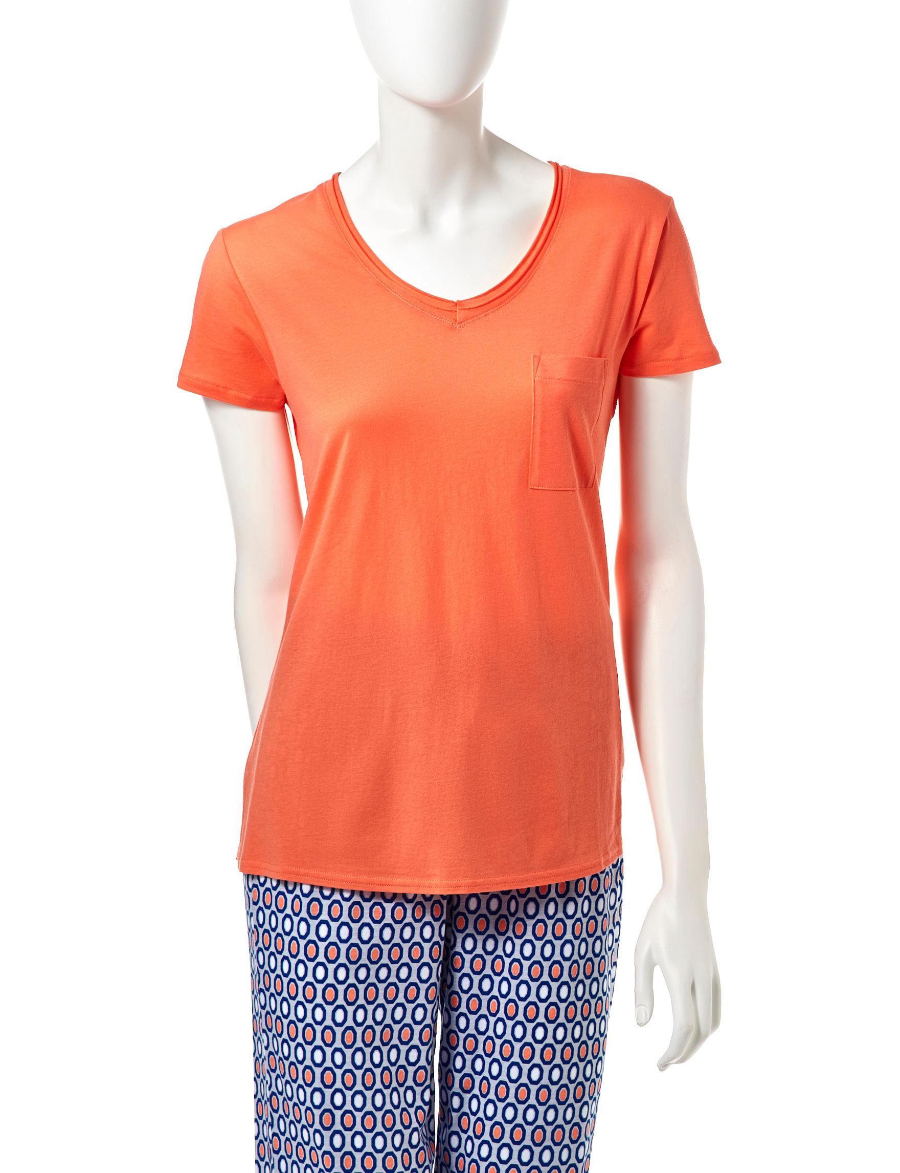 Goodnight Kiss Orange Pajama Tops