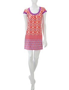 Linea Donatella Coral & Purple Conga Border Print Chemise –Misses