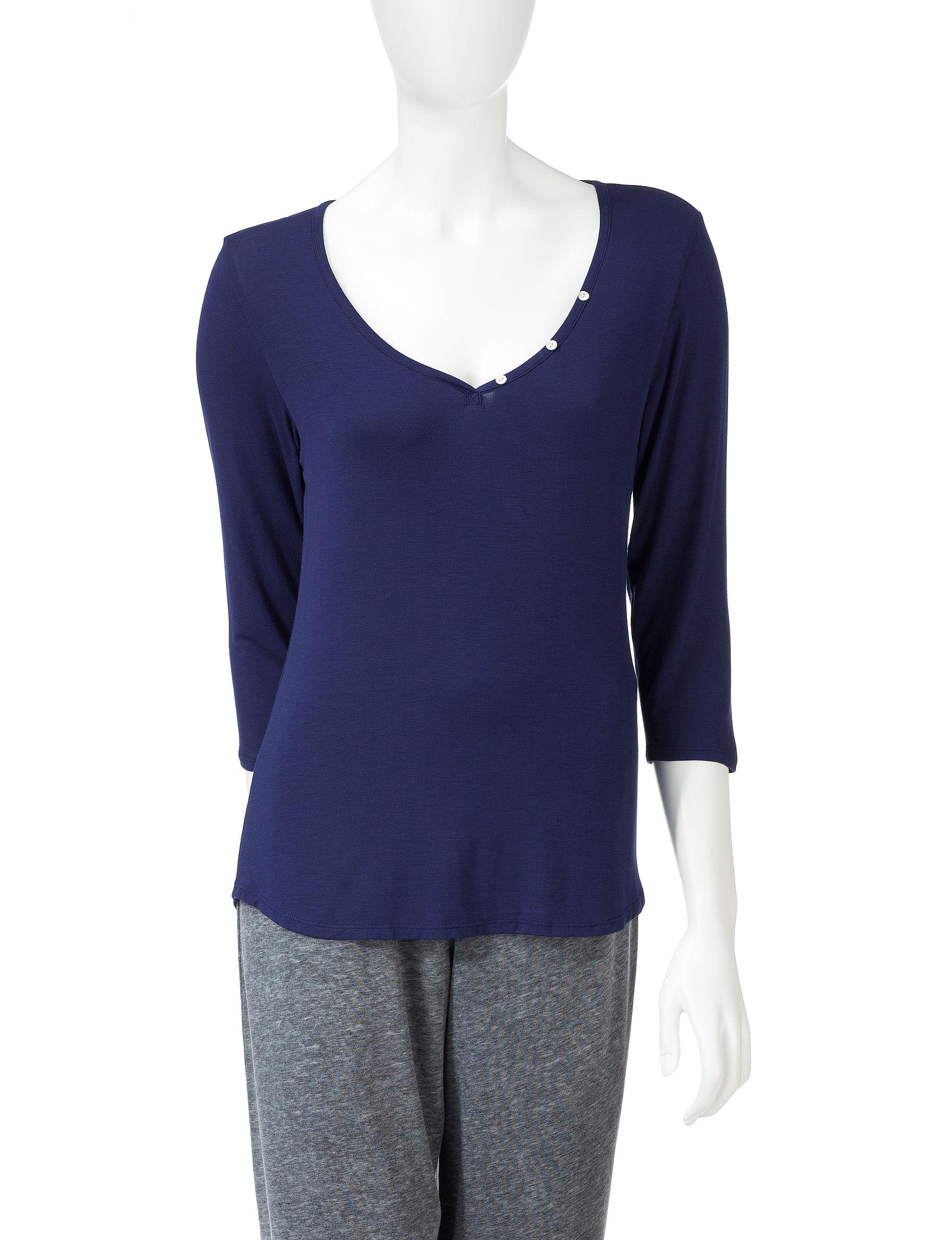 Laura Ashley Navy Pajama Tops