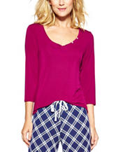 Laura Ashley Solid Color Button Accent Pajama Top