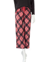 Goodnight Kiss Red & Black Plaid Print Plush Pajama Pants