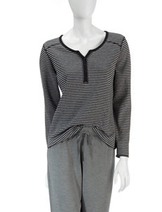 Jaclyn Intimates Black Pajama Tops
