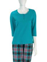 Rene Rofe Solid Color Henley Pajama Top