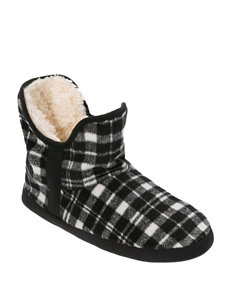 Dearfoams Plaid Print Bootie Slippers