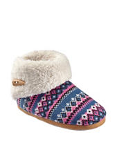 Olivia Miller Pink & Blue Fair Isle Sweater Knit Plush Booties