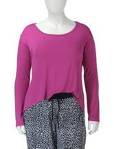 Lissome Plus-sizes Solid Color Hi-Lo Pajama Top