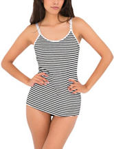 Lamaze Maternity Grey & White Striped Print Nursing Camisole