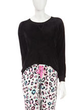 Goodnight Kiss Solid Color Velour Pajama Top