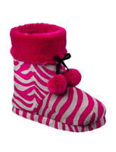 PJ Couture Hot Pink Zebra Print Boot Slippers