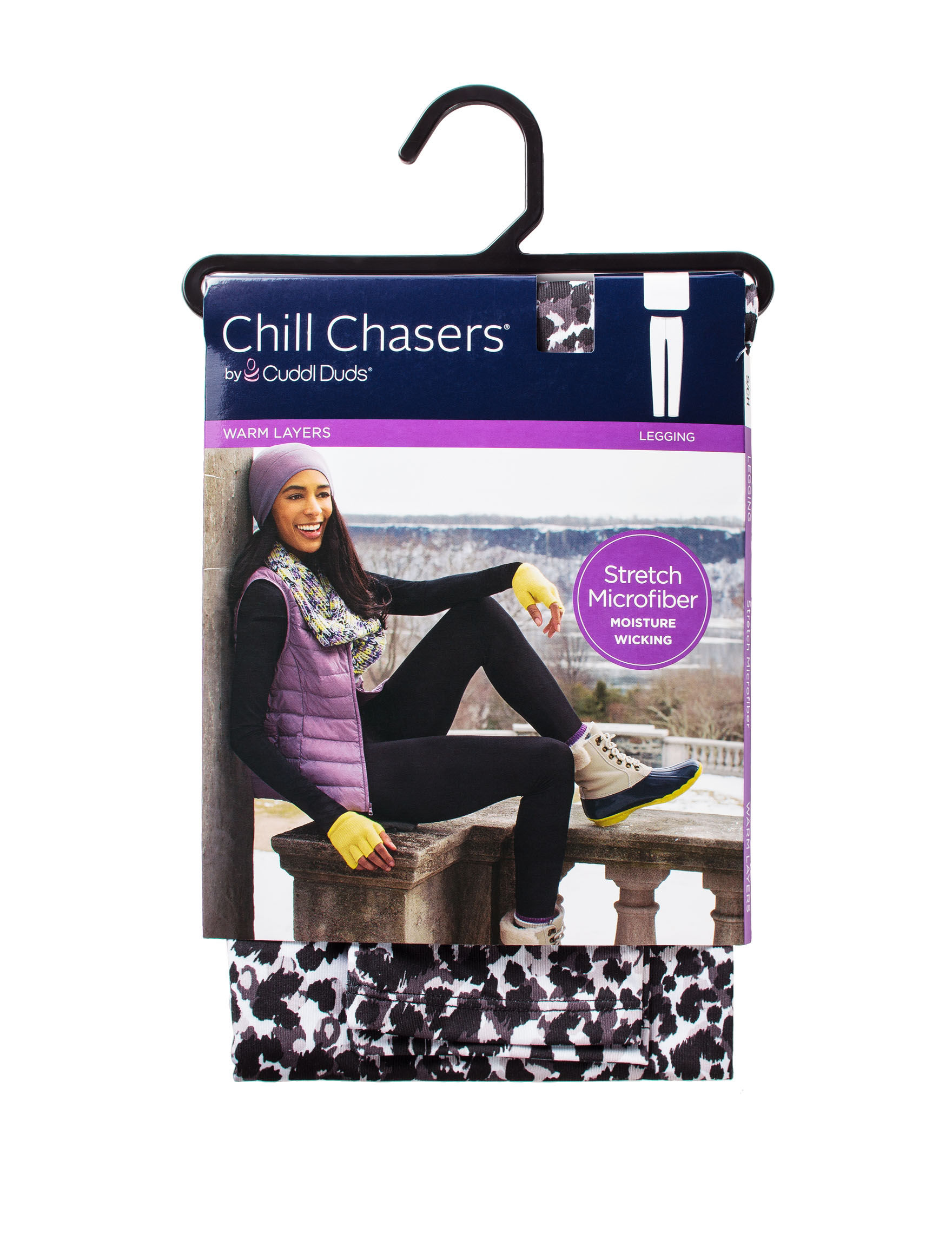chill chasers by cuddl duds warm layers stretch microfiber leopard print leggings