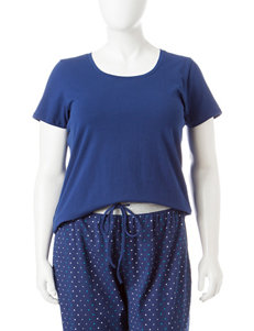 René Rofé Plus-size Navy Blue Scoop Neck Pajama Top