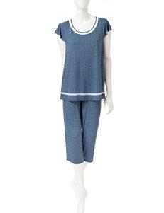 Ellen Tracy Geo Medallion Top & Capri Pajama Set