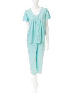 Aria Green / White Pajama Sets