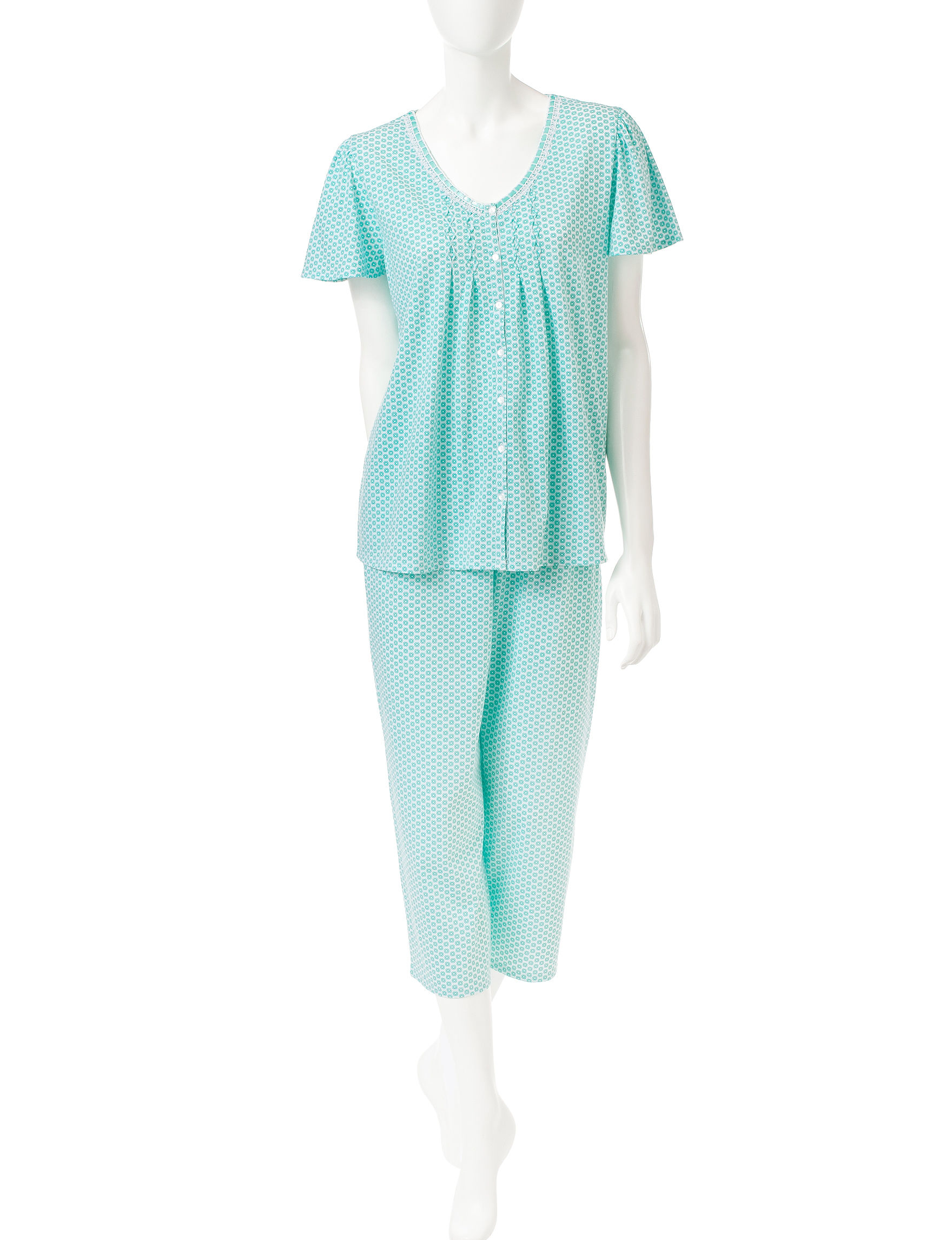 Aria Green / White Pajama Sets