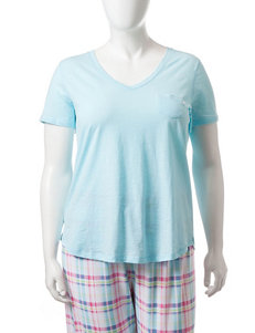 Jockey Blue Plaid Pajama Tops