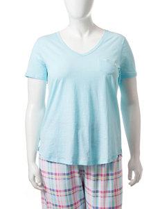 Jockey Blue Plaid Pajama Tops