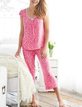 Laura Ashley Pink Birdie Floral Print Top & Shorts Pajama Set