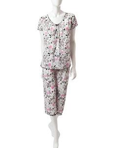 Jaclyn Intimates Black / White Pajama Sets