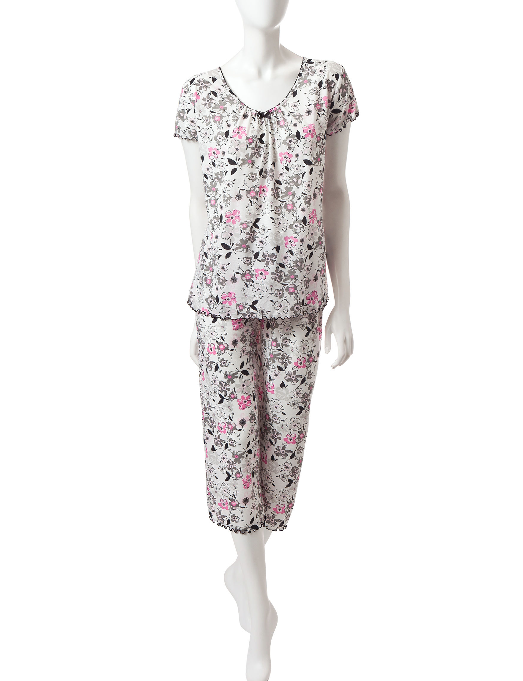 Jaclyn Intimates Black / White Pajama Sets