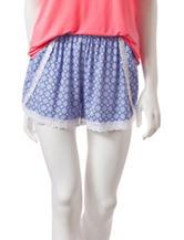 Laura Ashley Blue & Red Tile Print Pajama Shorts