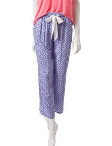 Laura Ashley Blue & Red Tile Print Pajama Pants