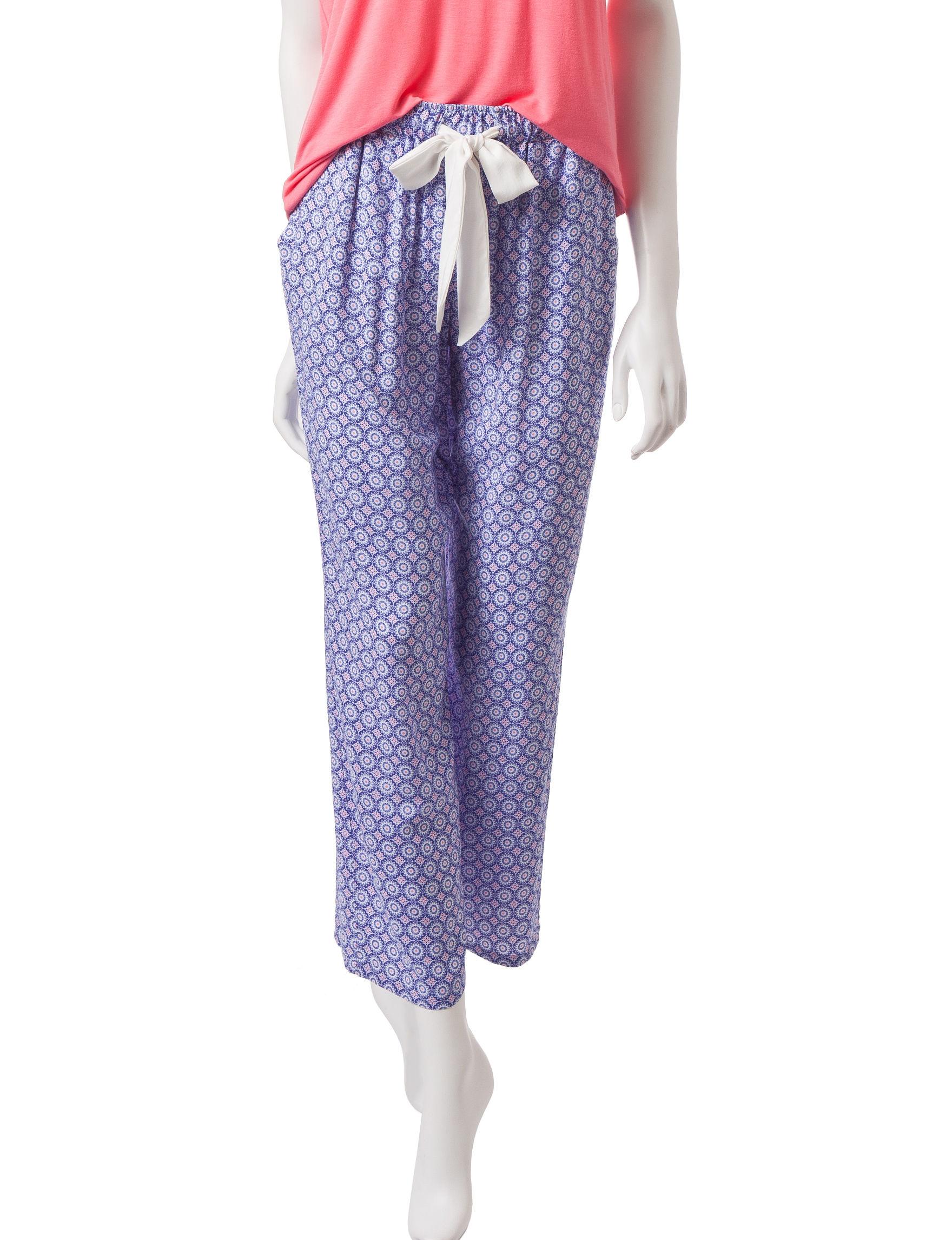 Laura Ashley Blue / Coral Pajama Bottoms