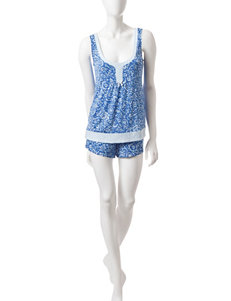 Laura Ashley Abstract Paisley Top & Shorts Pajama Set