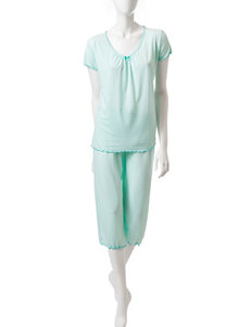 Laura Ashley Mint Polka Dot Print Top & Capris Pajama Set
