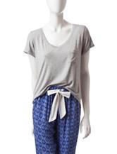 Laura Ashley Solid Color Hi-Lo Knit Pajama Top