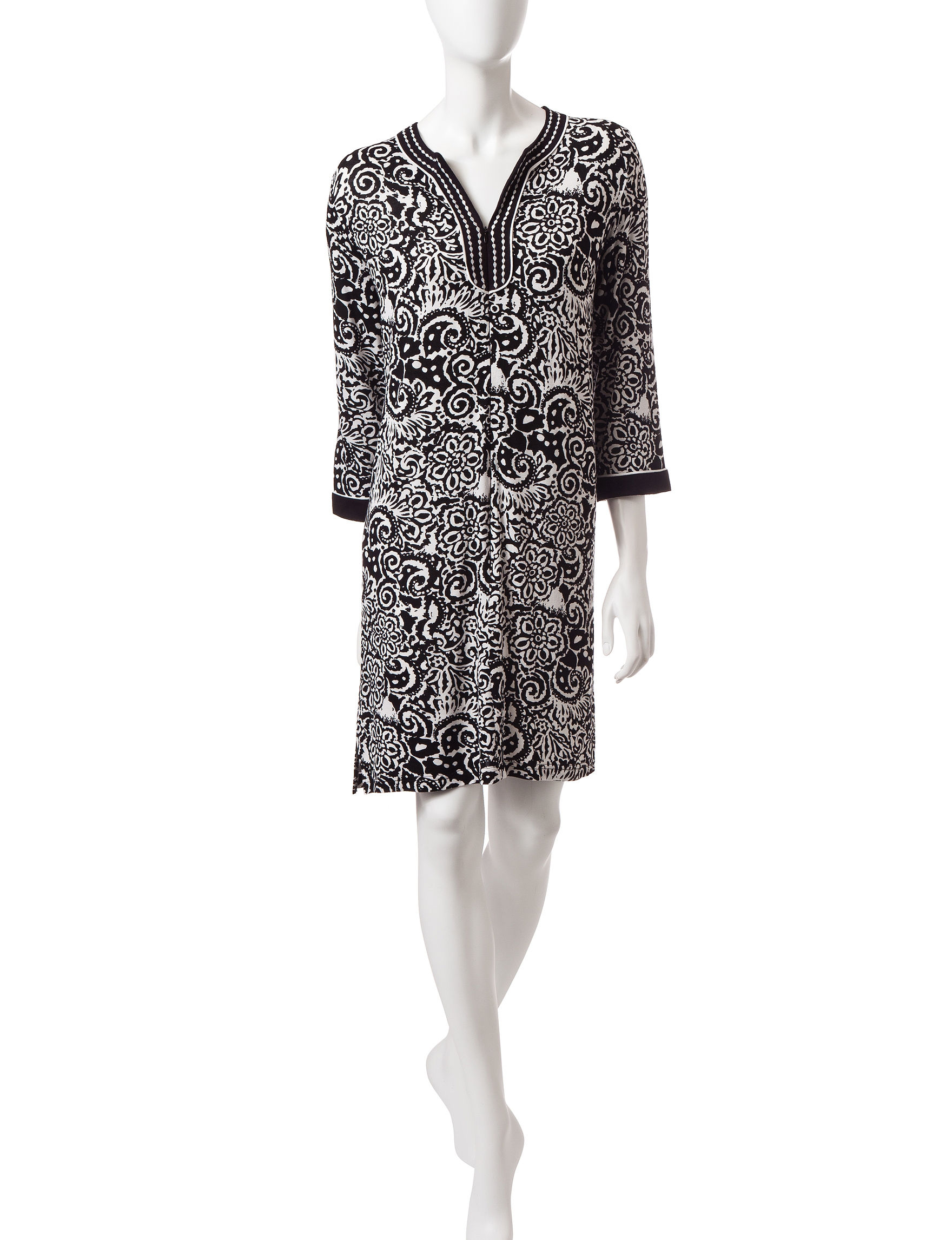 Jasmine Rose Black / White Robes, Wraps & Dusters