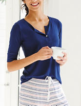 Laura Ashley Navy Henley Pajama Top