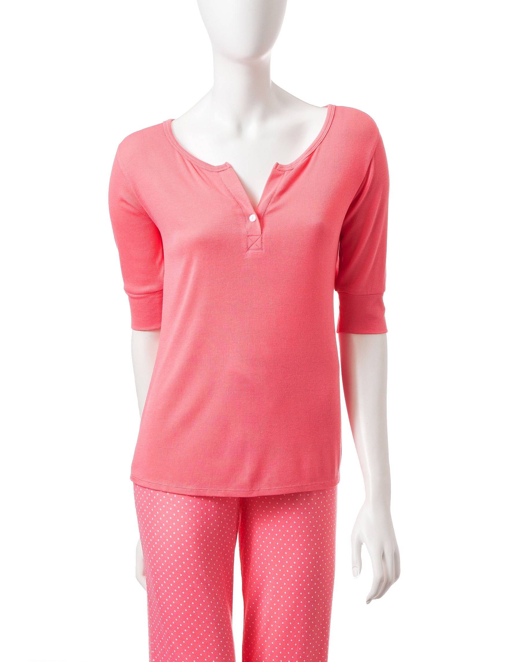 Laura Ashley Coral Pajama Tops