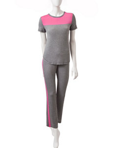 Lissome Pink & Grey Color Block Pajama Pants