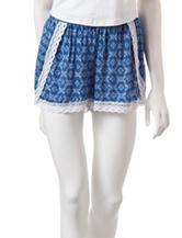 Laura Ashley Blue & White Damask Print Pajama Shorts