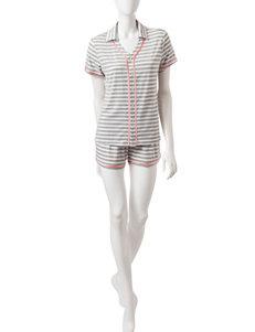 Hanes 2-pc. Grey Striped Top & Shorts Pajamas