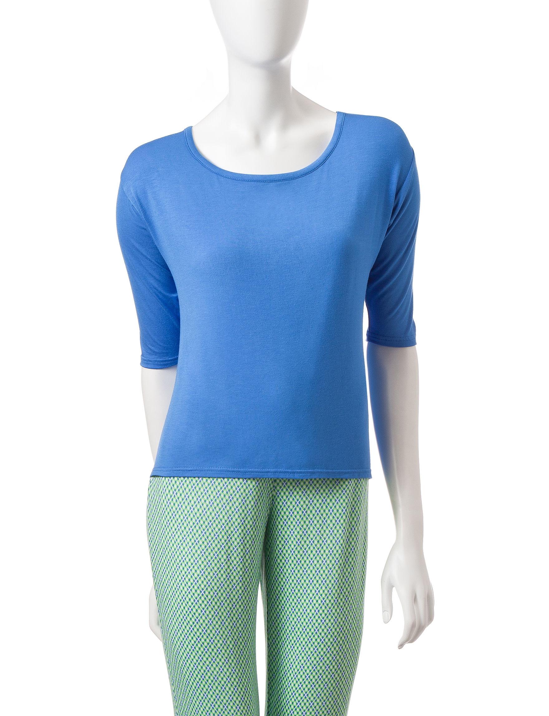 Lissome Blue Pajama Tops