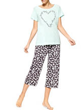 Hue® 2-pc. Sleep Late Top & Capri Pajamas