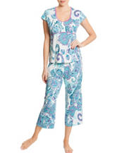 Linea Donatella 2-pc. Paisley Print Top & Pants Pajama Set