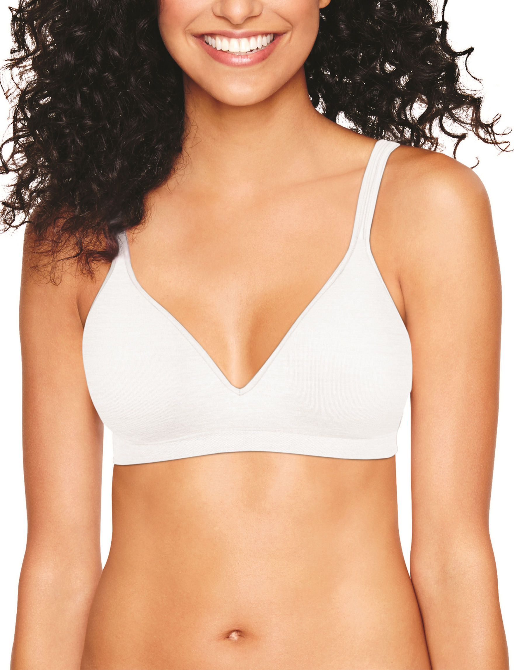 Hanes White Bras Comfort Full Coverage Tshirt Bra Wireless