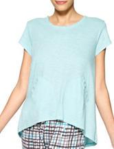 Hue® Turquoise Hi-Lo Pocket Pajama Top