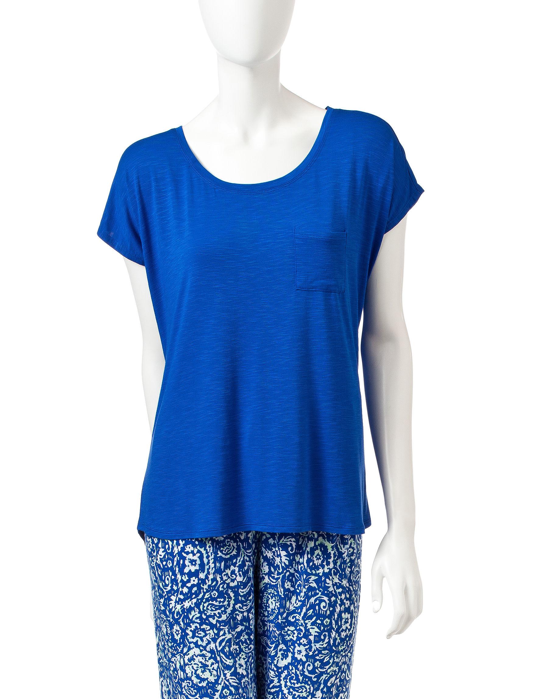 Laura Ashley Blue Multi Pajama Tops