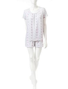 White Orchid 2-pc. Rose Print Top & Short Pajamas