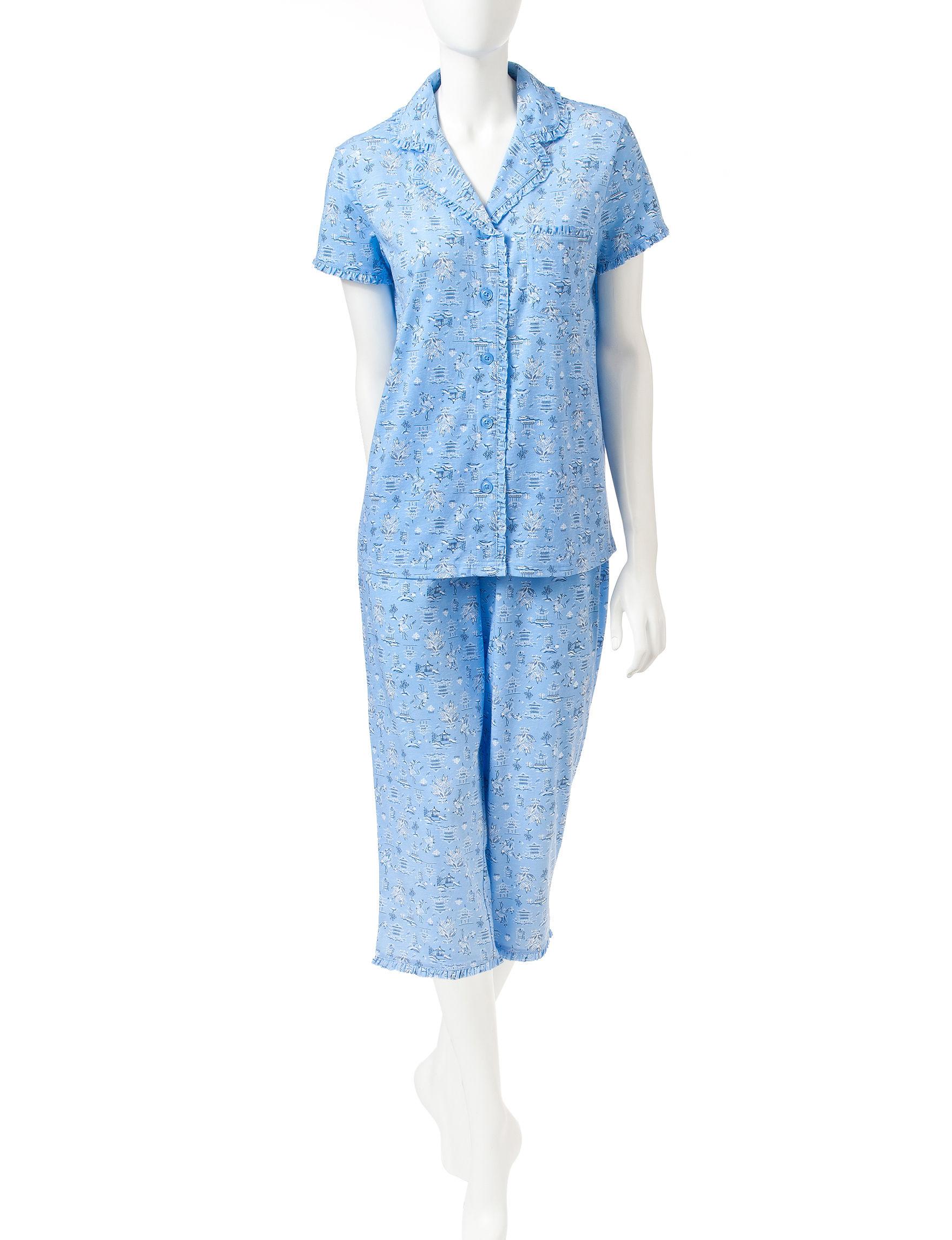 White Orchid Indigo Pajama Sets