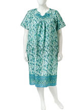 Loungees Plus-size Green & Blue Paisley Sleep Gown