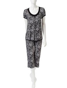 René Rofé Zebra Print Top & Capri Pajamas