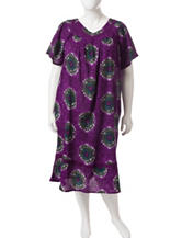 Loungees Plus-size Purple Floral Gauze House Dress