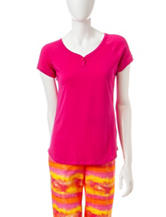 Goodnight Kiss Solid Color Henley Pajama Top