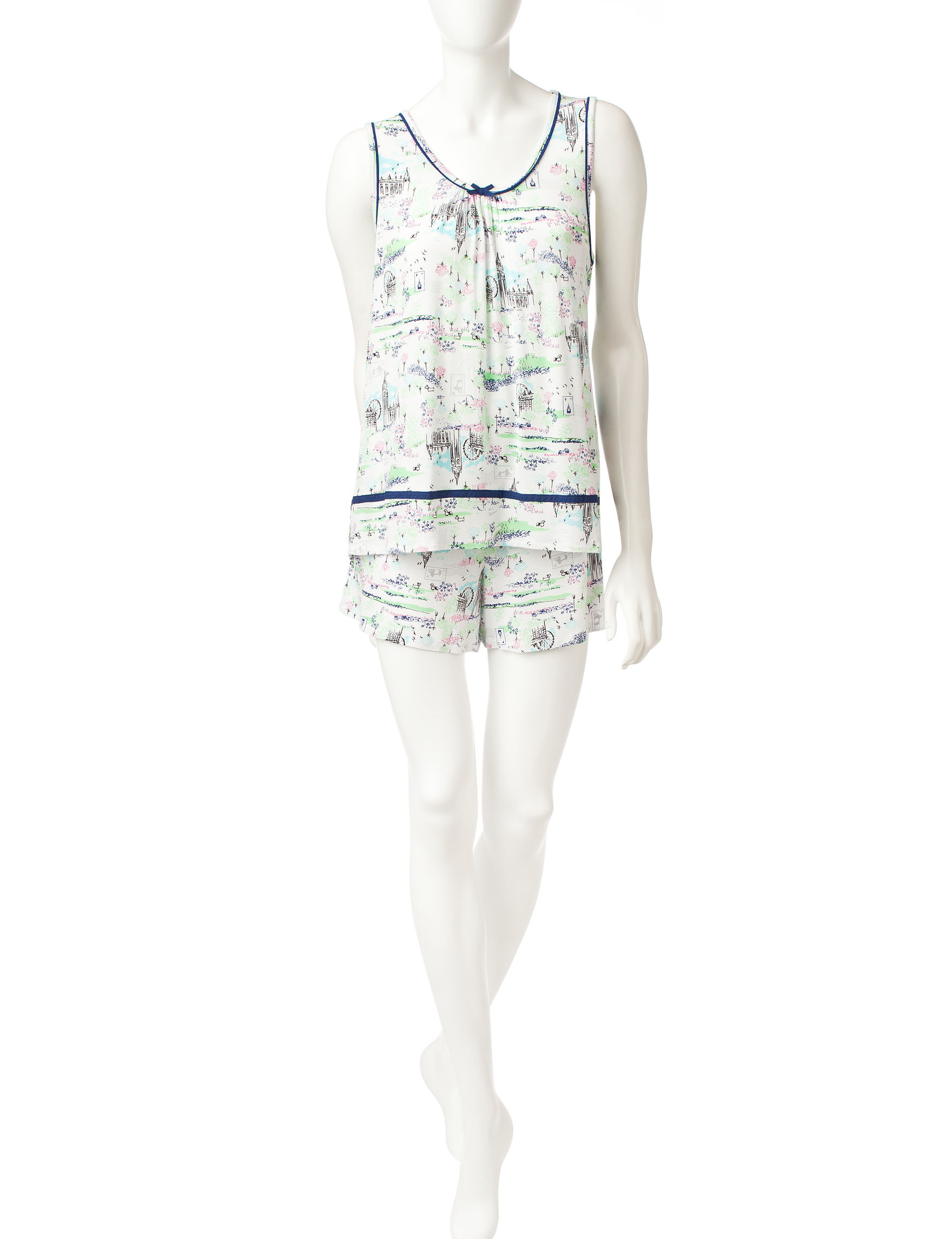 Ellen Tracy Green / White Pajama Sets