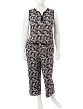Ellen Tracy 2-pc. Plus-size Tropical Leaf Print Pajamas